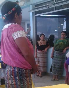 Maya ladies awaiting free food at the Children's Oncology Hospital (UNOP) in Guatemala City